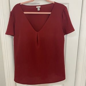 Red maroon blouse shirt sleeve